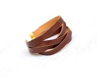 Sliced brown leather wrap bracelet