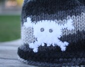 Pirates - Ahoy Black/Grey Knit Hat with Skull and Crossbones