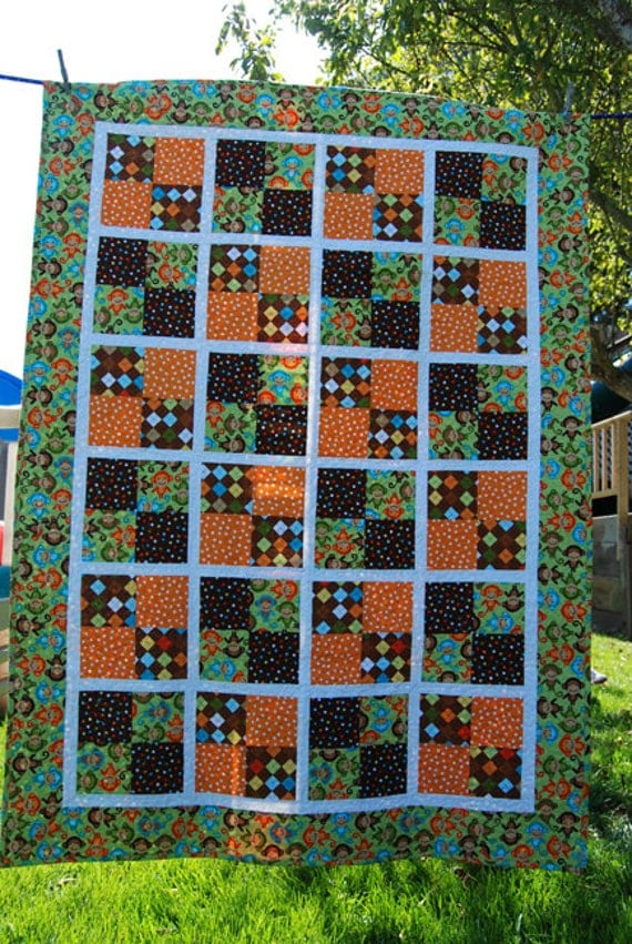 Monkey Business Quilt Crib Toddler Bed Size By Loveybugdesigns