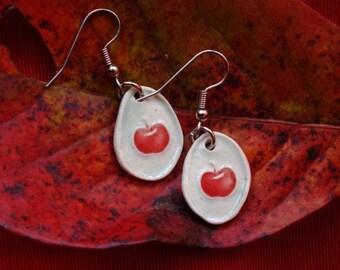 An Apple for the Teacher. Bright Red Porcelain Apple Earring.