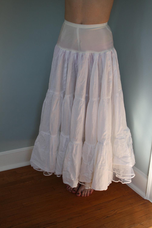 White Steampunk Petticoat Crinoline Tulle Long Skirt Bridal