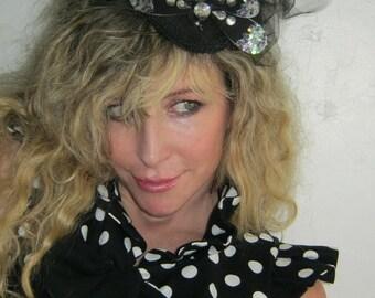 French Sugar Parisian  Up-cycled Black and White Poka-Dot Sleeveless Bolero Jacket - Altered Couture