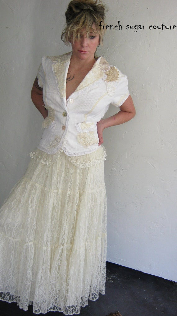 ON HOLD for TIFF French Sugar Couture -  Parisian White Bussel Jacket with Vintage Lace - Altered Couture