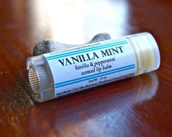 Vanilla Mint Lip Balm Oval Tube, vanilla bean and peppermint