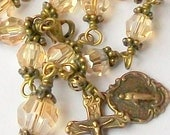 Vintage Look Gold Crystal Rosary Bracelet Antique Brass Swarovski Crystal Catholic Unbreakable Miraculous Medal FREE SHIP