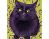 Black Cat Print Matted for 8 x 10 Frame - Shelter Cat with Green and Purple Scroll Background - 10% Benefits Animal Charities