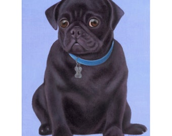 Black Pug Painting - Original Oil Pet Portrait - Dog Painting - Dog Art - Pug Art - 10% Benefits Animal Charities