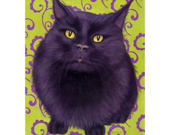 Black Cat Print with Mat for 12 x 16 Frame - Shelter Cat with Green and Purple Scroll Background - 10% Benefits Animal Charities