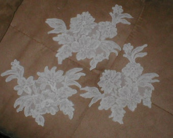 lot of 3 Large ivory French Alencon Lace Appliques