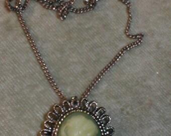 Vintage celuloid Cameo Pendant Necklace Brooch