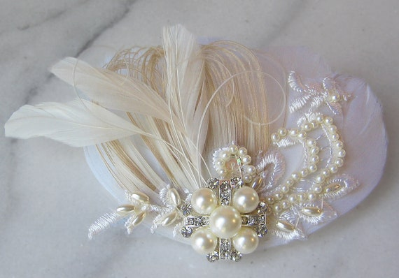 Ivory and Champagne Lace Bridal Fascinator, Ivory Peacock Feather, Pearl and Rhinestone Hair Clip - ALLIE