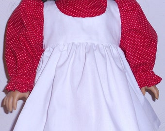 Red Polka Dot Dess with White Pinafore fits 18 inch Doll
