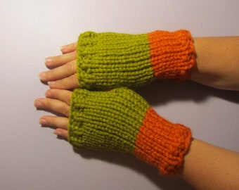 Green and Orange or Pick Your Colors Hand Knit Fingerless Gloves - Green and White Hand Knit Fingerless Gloves