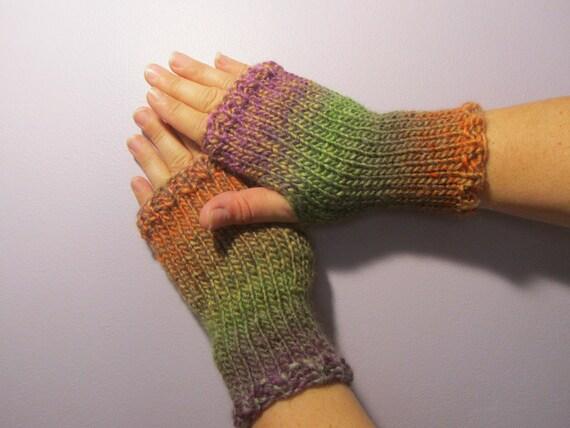 fingerless gloves green purple orange mix hand knit. Black Bedroom Furniture Sets. Home Design Ideas