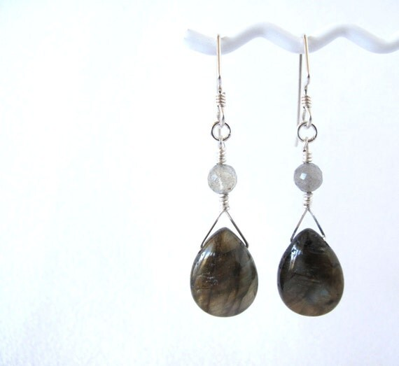 Smooth Labradorite Teardrop Earrings