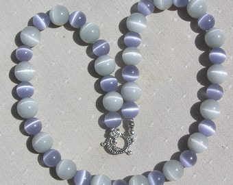 """Lavender & Dove Gray Cat's Eye Gemstone Necklace  """"Cat's Whiskers"""", Beaded Necklace, Princess Necklace, Chunky Necklace, Gray Necklace"""