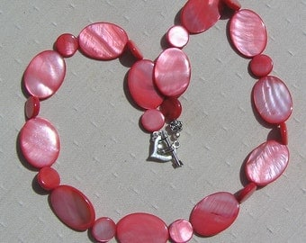 "Red Mother of Pearl Necklace ""Fritillary"", Shell Necklace, Red Necklace, Pink Necklace, Beach Necklace, Special Offer Price, Silver Heart"
