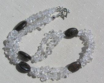 """Bronzite & Clear Quartz Crystal Gemstone Necklace """"Chocolate Melt"""", Quartz Necklace, Chakra Necklace, Bronzite Necklace, Statement Necklace"""