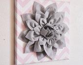 "Nursery Wall Decor -Gray Dahlia on Light Pink and White Chevron 12 x12"" Canvas Wall Art- Baby Nursery Wall Decor-"