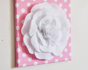 "Nursery Wall Decor -White Rose on Pink with White Polka Dot 12 x12"" Canvas Wall Art- Flower Wall Art"