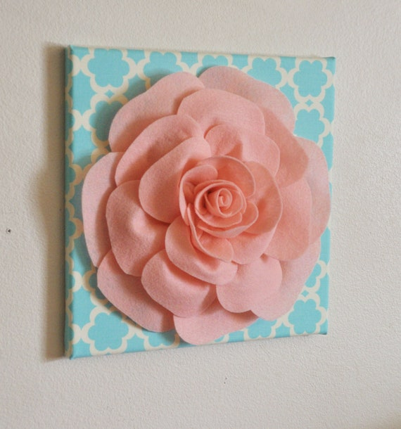 Nursery Wall Decor Light Pink Rose On Blue Tarika 12