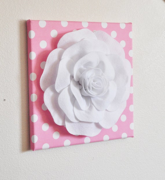 White Nursery Wall Decor : Nursery wall decor white rose on pink with polka dot