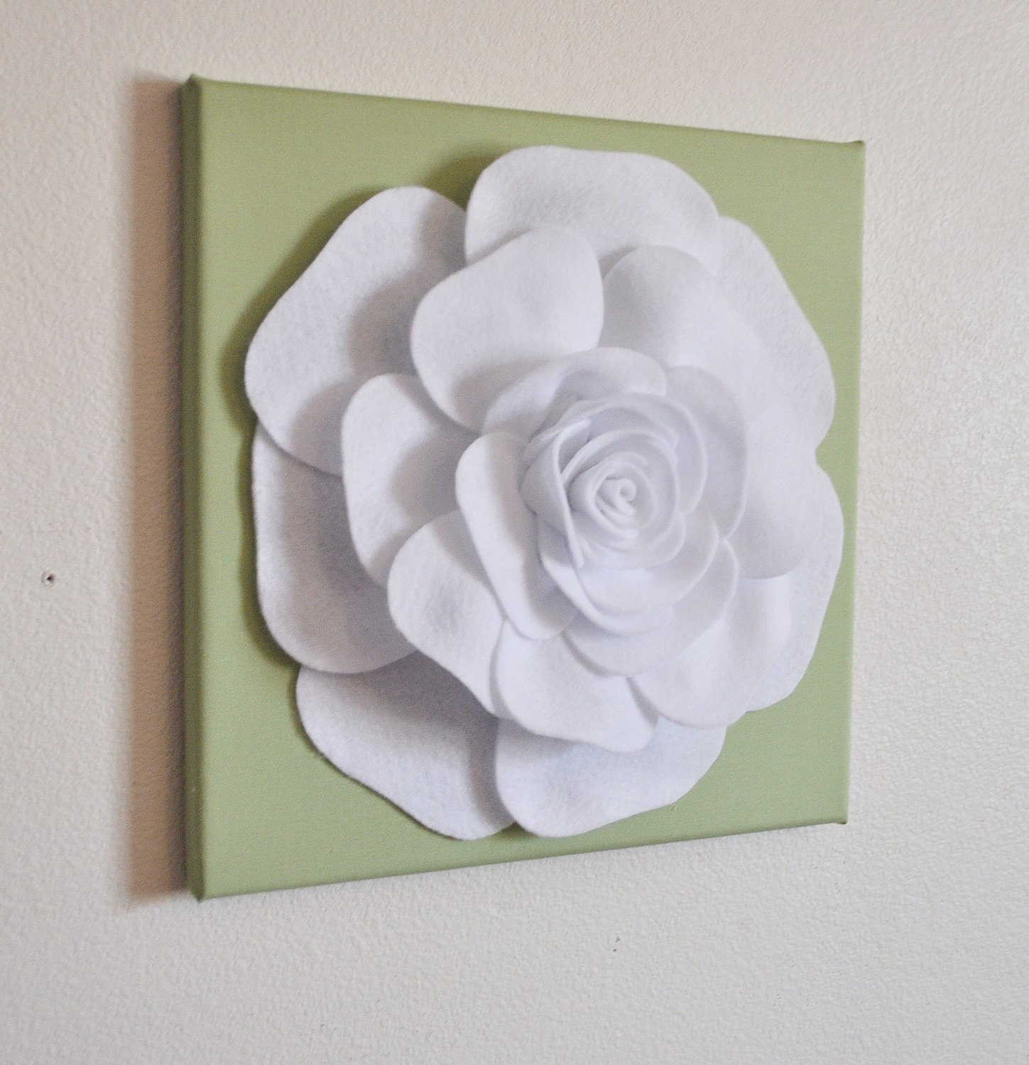 Rose Wall Decor White Rose On Sage Green 12 X12 Canvas