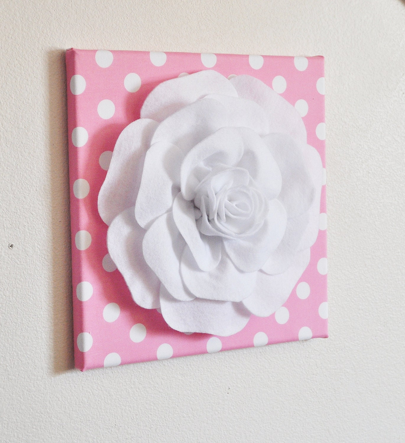 nursery wall decor white rose on pink with white polka dot 12. Black Bedroom Furniture Sets. Home Design Ideas