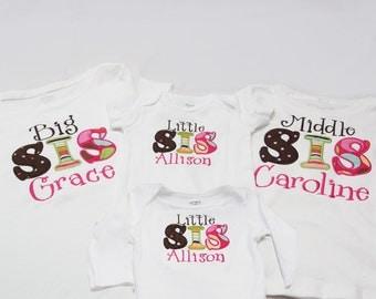 Big Sister Shirt/Middle Sister/ Little Sister - Set of 4 Sister Shirts
