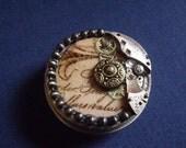 Altered art steampunk round tin trinket box