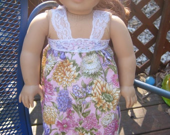 American Girl Clothes, flower dress, pink and purple with lace