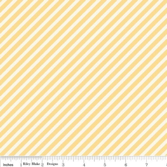 Cynthia Walker / Stitch Studios for Riley Blake - MARGUERITE - Stripe in Yellow - Fat Quarter FQ