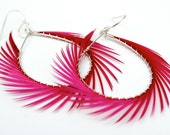 Hot pink Feather Earrings, Spiked Feather Hoops