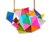 Geometric Necklace, Triangle Necklace, Rainbow Bib Necklace, Chevron Necklace, Color Block Necklace, Geometric Jewelry, Leather Necklace