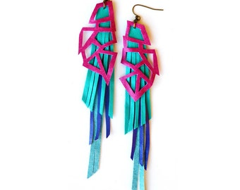 Geometric Leather Earrings, Long Triangle Chevron Earrings, Purple and Turquoise Blue Triangles Fringe Color Block