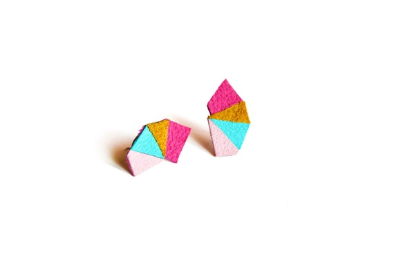 Neon Post Stud Earrings Leather Triangle Turquoise, Pink and Brown Geometric Earrings