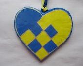 Handcrafted  Swedish BASKET HEART ornament,  papier mache'
