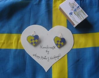 Handcrafted  Swedish BASKET HEART EARRINGS,  papier mache'