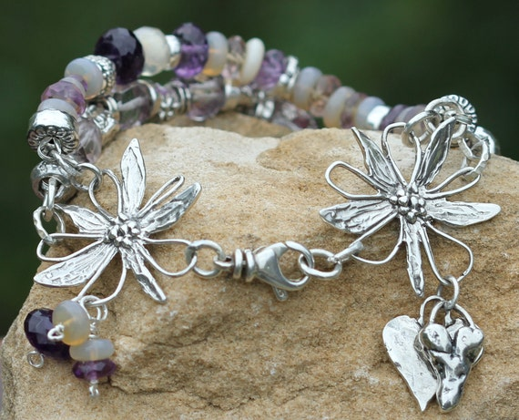 Handmade Double Strand Country Style Artisan Sterling Silver Bracelet