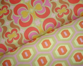 Amy Butler Fabric Duo, Midwest Modern, Garden Maze in Tan and Honeycomb in Sand, Full Yard Set, 2 Yards Total