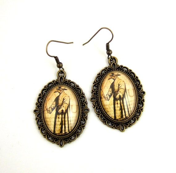 Plague Doctor Earrings Gothic Earrings Cameo Earrings Gothic Jewelry Steampunk Earrings Plague Dr Jewelry Dr Schnabel Von Rom Neo Victorian