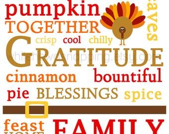 "8x10"" Thanksgiving Themed Subway Art Printable - Great Home Decor"