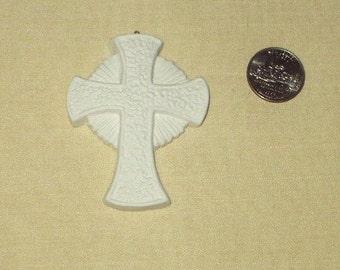 Radiant  Textured   3 inch cross   ceramic bisque 4 U 2 paint