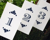 Tented Wedding Reception Table Numbers - The Victoria - Classic & Elegant - Ivory or White 4 x 7 (folded size) - Custom Colors Available