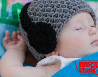 Neutral Headphone Hat - Available in Newborn to 3-6 Months - Perfect Photo Prop