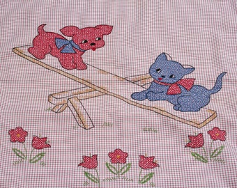 Vintage Baby Coverlet Embroidered Cat and Dog Crib Bedding