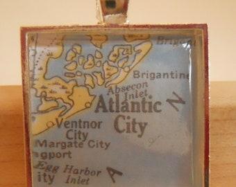 Atlantic City New Jersey Map Pendant