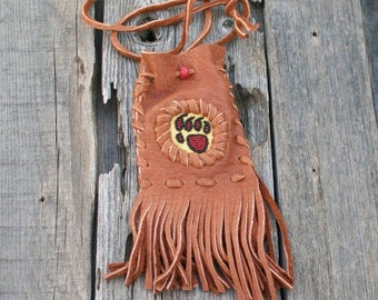 Bear paw totem shamans bag , Fringed medicine bag , Buckskin pouch with beaded bear paw