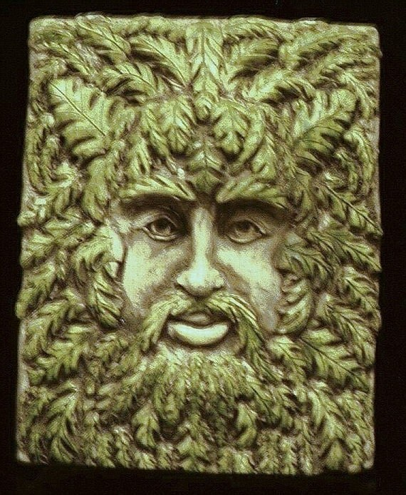 Gothic Greenman Leafman Wall Plaque Hanging Small Forest Wood Spirit Myth Renaissance Medieval Man Fantasy Face Celtic Home Garden Decor
