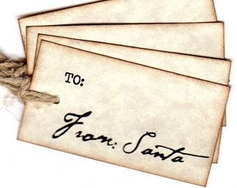 From Santa Personalized Christmas Gift Tags / Santa Claus Christmas Tags / Labels Hang Tags / Vintage Inspired / Set Of 6 / Santa Signature